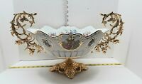 Antique Huge Porcelain & Bronze Brushed Gold Centerpiece L.F. Limoges Fragonard