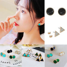 1Pair Natural Turquoise Geometric Triangle Round Ear Studs Women EarringsJewelry