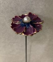 Pretty Handcrafted Hat Pin Hatpin Purple Enamel Flower Head With Pearl Center.