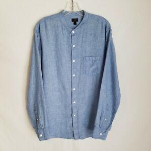 J. CREW Baird McNutt Irish Linen Collarless Button Front Shirt Mens Large X327P