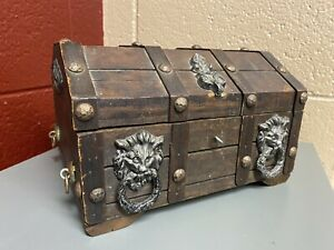 Vintage Wood Pirate Treasure Chest Jewelry Box Top Tray Gothic Lion Head Rings