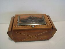 Wooden Music Cigarette Box w inlay Italy 1940's Plays Funiculi Vatican Top