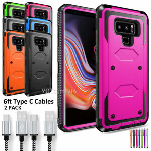 For Samsung Galaxy Note 9 8 Hybrid Rugged Phone Case Cover / 6ft Type C Cable