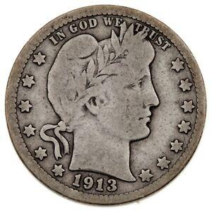 1913 25C Barber Quarter in VG Condition, Natural Color, Full Rims