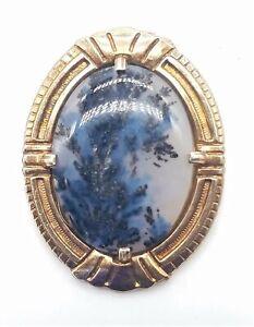 925/Gold Plate Moss Agate Stone Brooch 6.65g MRJ929
