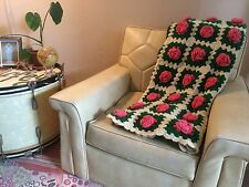 Vintage 3D Raised Rose Flower Crochet Afghan Granny Square Throw Blanket