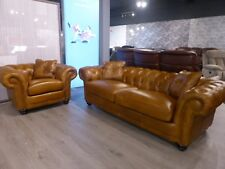 Chester Genuine Full leather Stunning Chesterfield 3 seater & chair