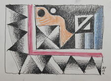 ABSTRACT CUBIST PASTEL / INK PAINTING SIGNED