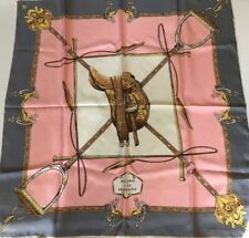 Pierre Baccara Paris Scarf Sellerie A La Francais Saddle Pink Gray Gold 31� Sq