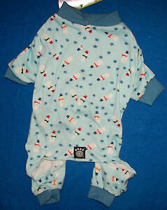 New Size XS Blue with Snowmen Dog Pajamas Sleepwear Dog Clothes Pet