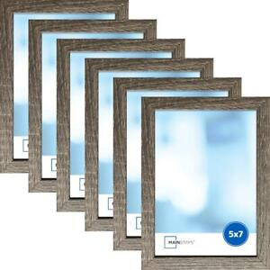 """Mainstays Modern Linear 5"""" X 7"""" Rustic Frame Set Of 6 New Wood Picture Display"""
