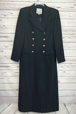 Saks Fifth Avenue Trench Coat Double Breasted 100% Wool Lined Black Women's 12