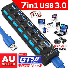 7 Port USB 3.0 HUB Powered +High Speed Splitter Extender PC AC Adapter Cable AU