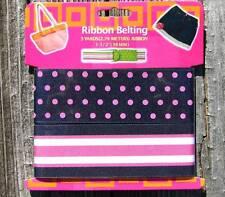 """3 Yds Black Pink Polka Dot Stripes Grosgrain Ribbon 1 1/2""""W"""