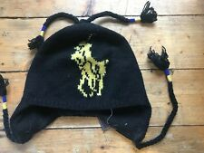 POLO RALPH LAUREN Black/Royal wool beanie toque hat cap ski snowboard pony NWT