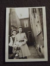 TWO YOUNG WOMEN WITH A BICYCLE AND A STUFFED BUNNY IN THE BASKET VTG 1941  PHOTO