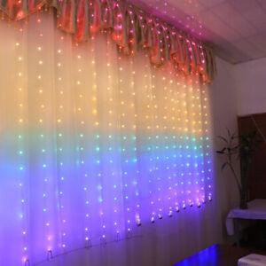 Rainbow Curtain Fairy Lights 280LED Wedding Indoor Outdoor Christmas Party;