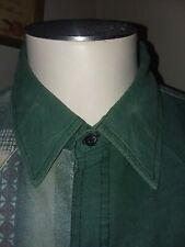 Youngblood Authentic Western Purple Pearl Button Down Green Tribal Design Large