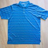 Adidas Mens Climacool  Short Sleeve Blue Striped Polo Shirt Size XXL