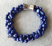 Neu Süßwasser Perle Armband, 3 Stränge 6-9 mm dunkel Blau Barock Perle Armband