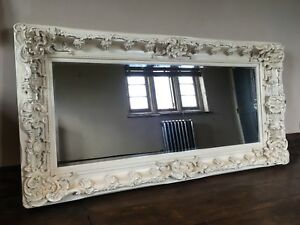 Antique White Cream Ivory Ornate Shabby Chic French Over mantle Wall Mirror 5ft