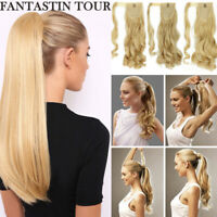 100% Real Hot as Human Hair Wrap On Ponytail Pony Tail Clip On Hair Extensions J