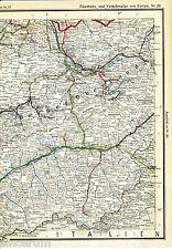 Thun Visp Zermatt Zweisimmen 1925 orig Eisenbahn-Atlaskarte Interlaken Sion Brig