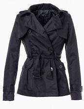 Violet Fashion Damen Trenchcoat, Zweireiher mit Gürtel, IV049 schwarz