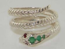 Fabulous Solid 14K White Gold Natural Emerald & Ruby Detailed Snake Ring