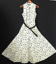 K Studio Dress Fit-Flared Sleeveless Belted Cotton/Spandex Dot's Size 8