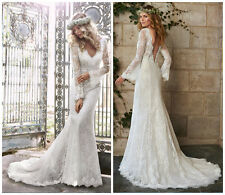 V Neck Boho Lace Mermaid Wedding Dress Long Sleeves Flowers Vintage Bridal Gown