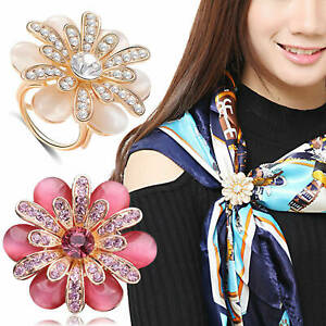 Elegant Scarf Buckle Ring Clip Flower Holder Women Ladies Jewellery Gift Pin UK