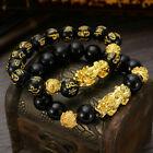 2pcs Feng Shui Black Obsidian Beads Bracelet Attract Wealth & Good Luck Bangle