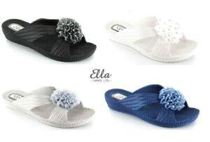 LADIES WOMENS ELLA FLOWER MULE SANDALS SLIDERS LOW WEDGE FLIP FLOPS SIZE 3 - 8