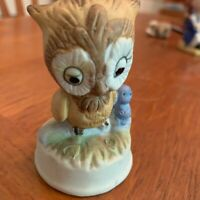 Ceramic Owl Figure Statue With Blue Baby