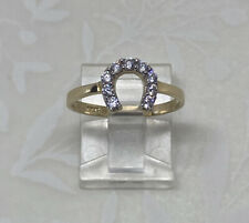 14K Solid Yellow Gold Horse Shoe Ring Band