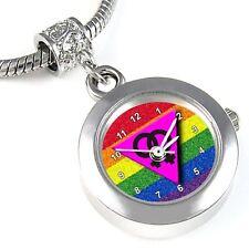 Lesbian Triangle Symbol Silver Quartz Watch European Bracelet Charm Bead EBA36