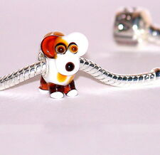 925 argento Sterling Single Core MURANO GLASS animale bead-charm-dog