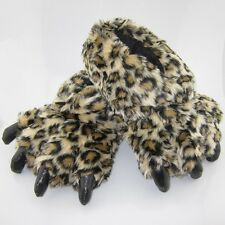 "New Leopard Print Soft Warm Women Plush Paw Shoes Slippers 11"" Indoor Costume"