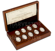 2012 SILVER IMPERIAL FABERGE EGG COIN COLLECTION SWAROVSKI CRYSTALS 9-COIN SET