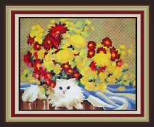 *VINTAGE LONGSTITCH*1980 MONARCH HORIZONS * LILLY'S AFTERNOON PERSIAN CAT * Kit