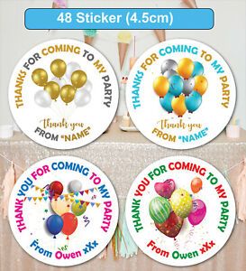 48 Birthday Party Bag Stickers Sweet cone Labels Balloons Personalised MATT & HG