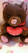 "NWT CUTE BROWN BEAR WITH Heart LUV U  7""  SOFT BY TOMS TOYS"