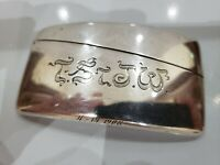 ANTIQUE SOLID STERLING SILVER CURVED SHAPE CARD CASE, DATED 1908, 3 1/4 x 1 3/4