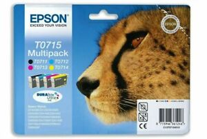 Epson T0715 Full Set Ink Cartridge Genuine Original Multipack B C M Y Cheetah