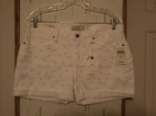 Lucky Brand Laguna White w Embroidered Stars Cotton Blend Denim Shorts  Sz.10/30