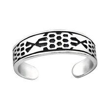 Tjs 925 Sterling Silver Toe Ring Pattern Band Design Adjustable Jewellery