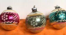 Set Of 3 Antique Vtg Mercury Glass Christmas Ornament Shiny Brite