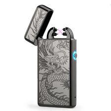 Black Double Arc Light USB Electronic Rechargeable Dragon Cigarette Lighter