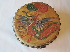 Antique Chinese Hand Painted Leather Wood Drum Dragon Phoenix Bird Fatshan China